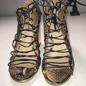 Snakeprint strappy heels